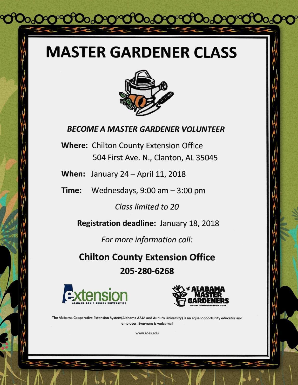 Master Gardener class poster