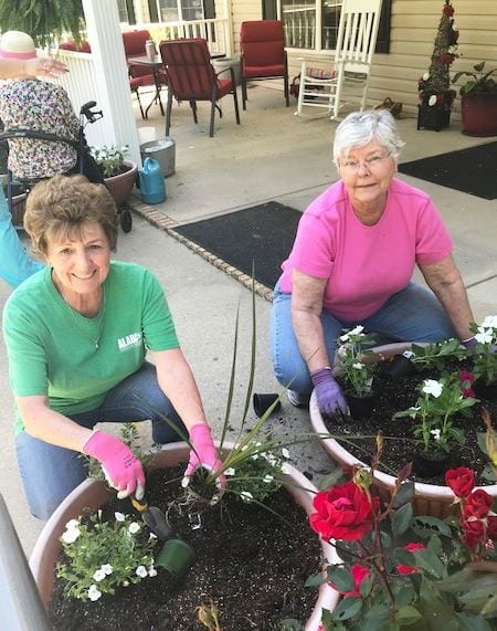 planting pots at front entrance of assisted living home