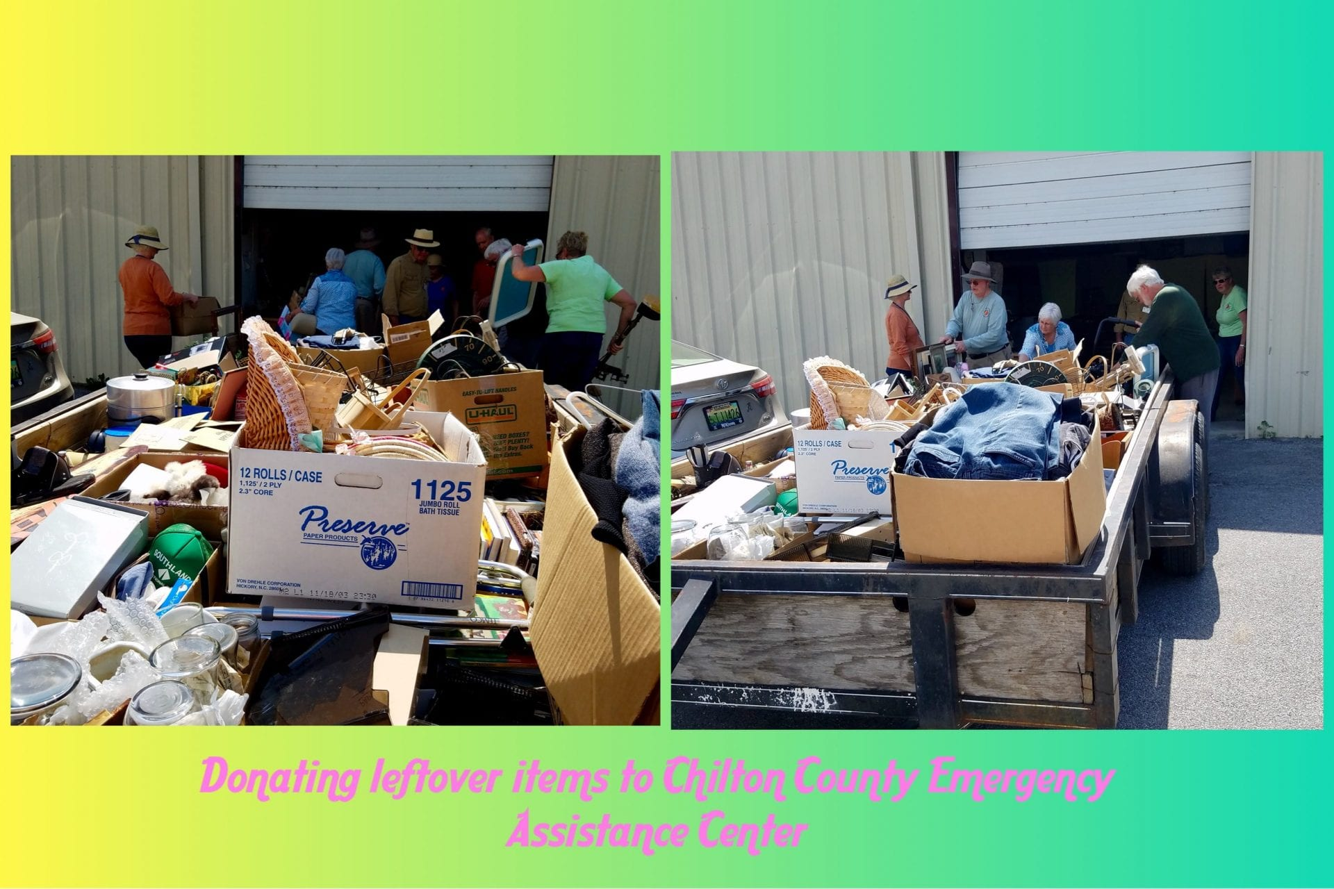 Donating leftover items from yard sale