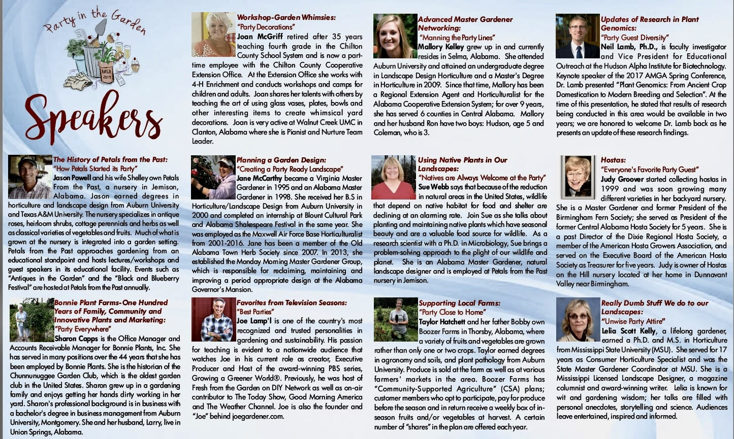 Brochure speakers page