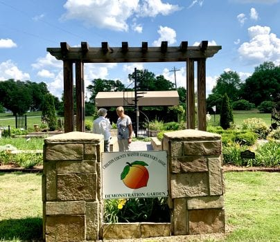 Demonstration garden sign with Chilton County Master Gardener logo of peach