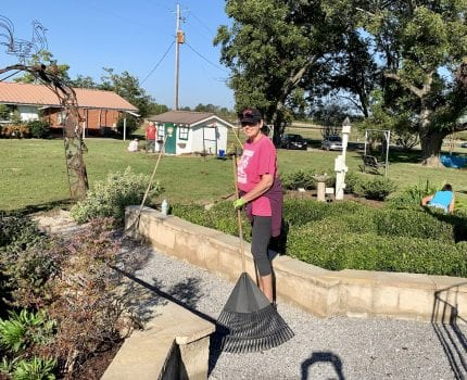 Susan Cleckler ready to rake leaves