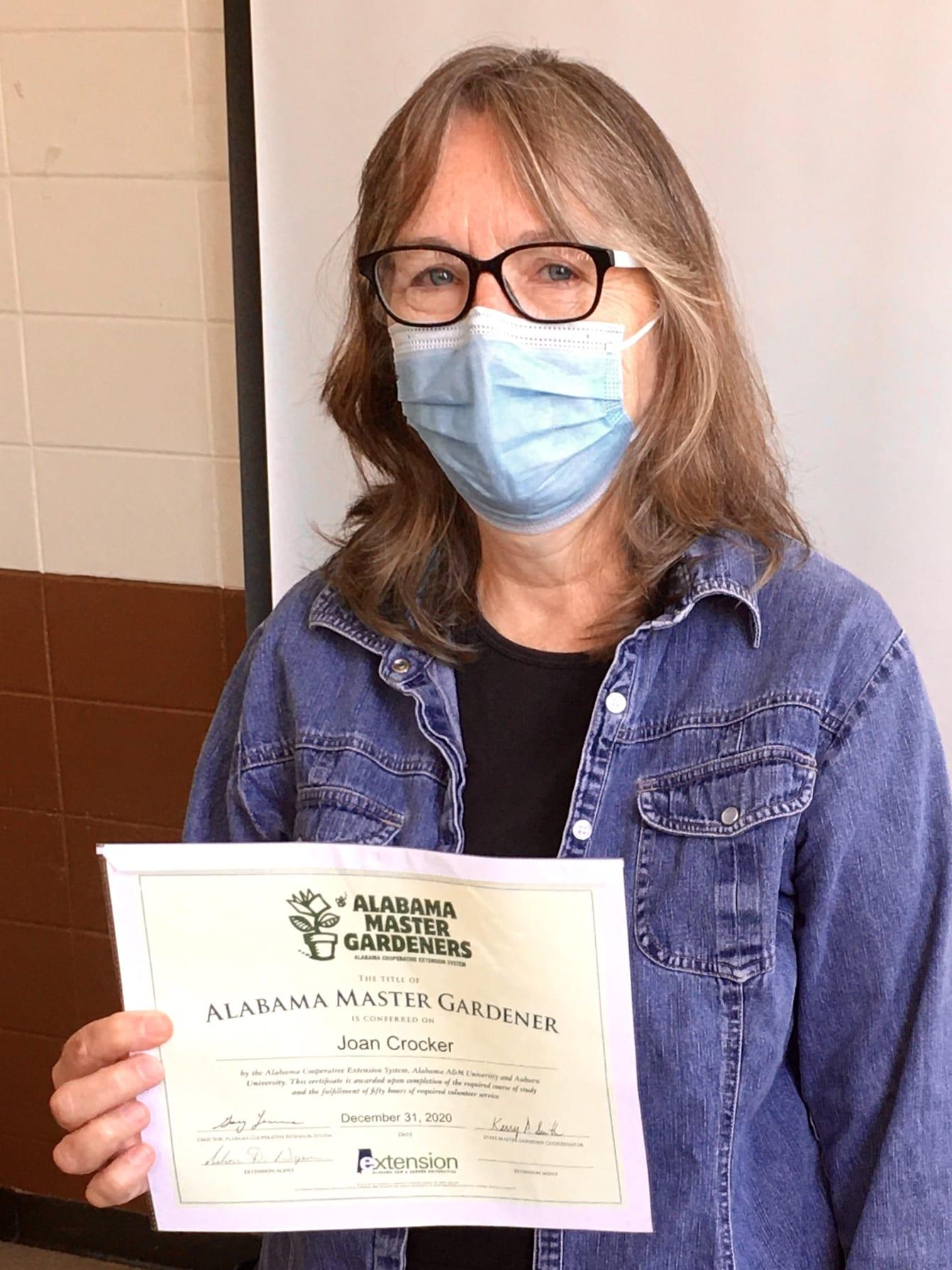 Joan Crocker received certificate