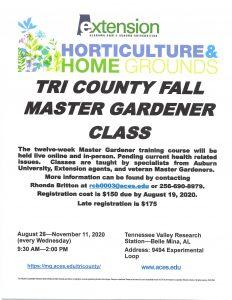 TRI COUNTY MASTER GARDENER CLASS