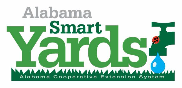 Alabama Smart Yards logo words over illustration of grass silhouette