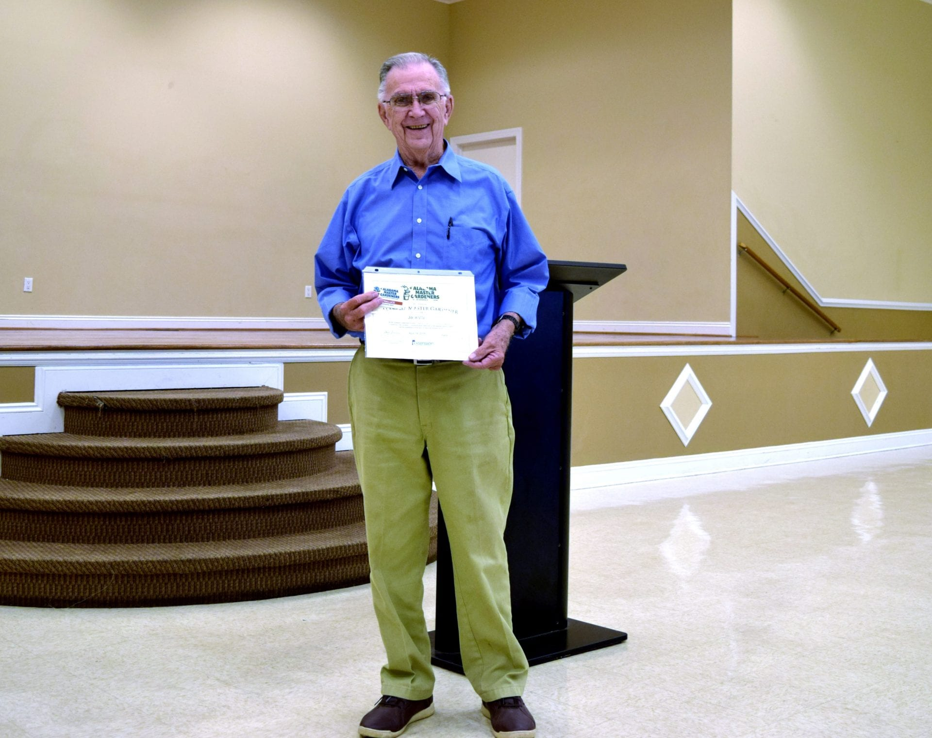 John Wallace getting certificate