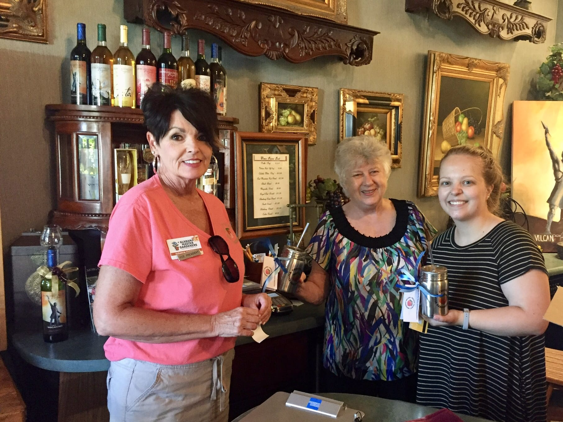 V.P. Giving hostesses at winery their gift.