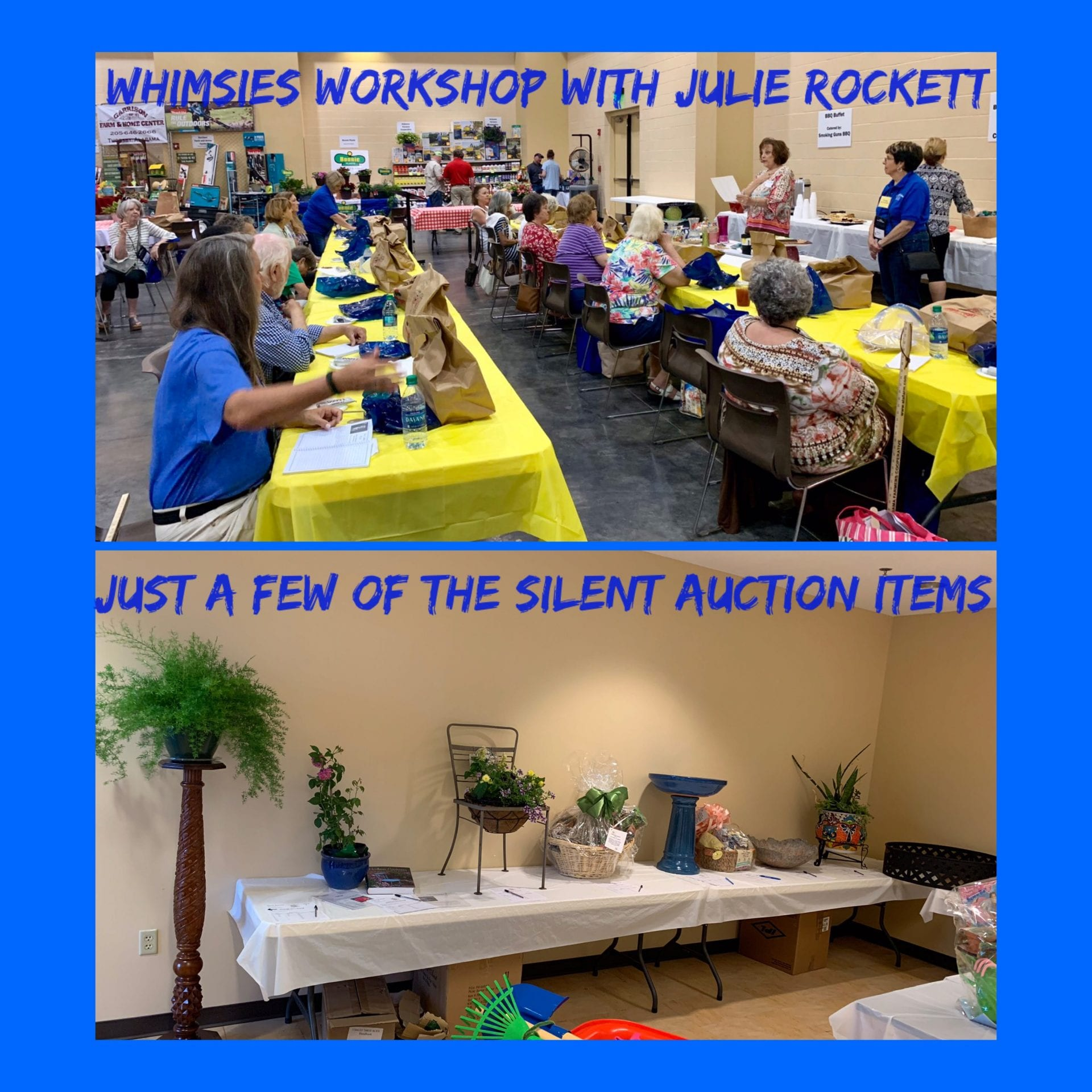 Collage of workshops and silent auction