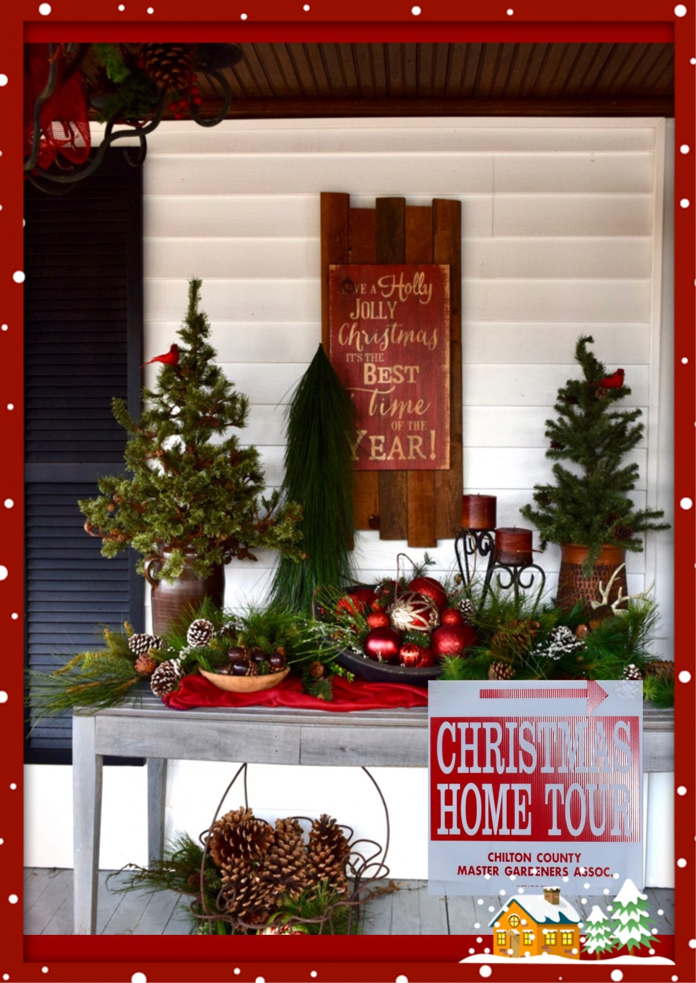Decorations on porch if Pat Barefield Home 2019 Christmas Home Tour