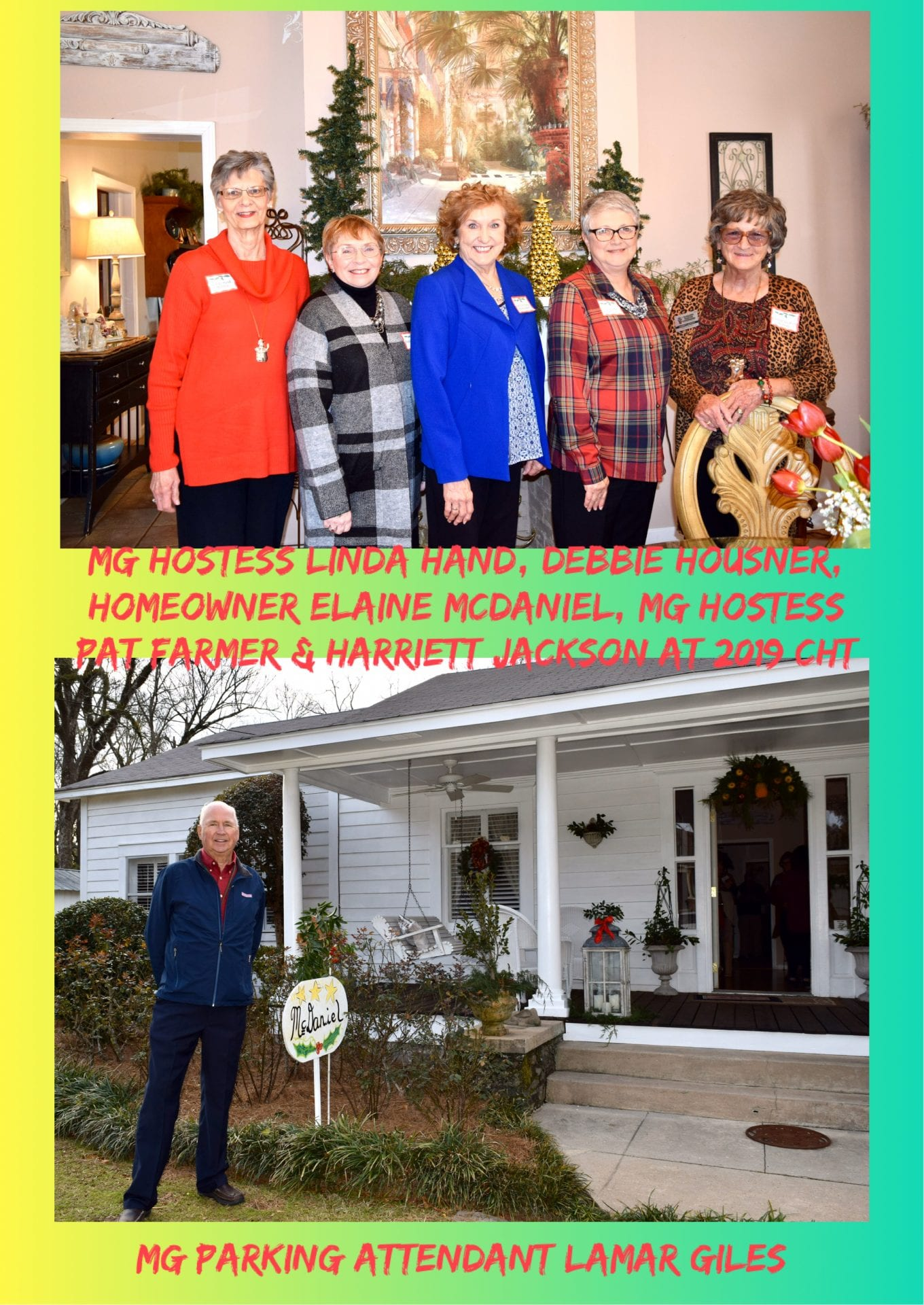 MG hostesses and parking attendants at McDaniels Home 2019 Christmas Home Tour