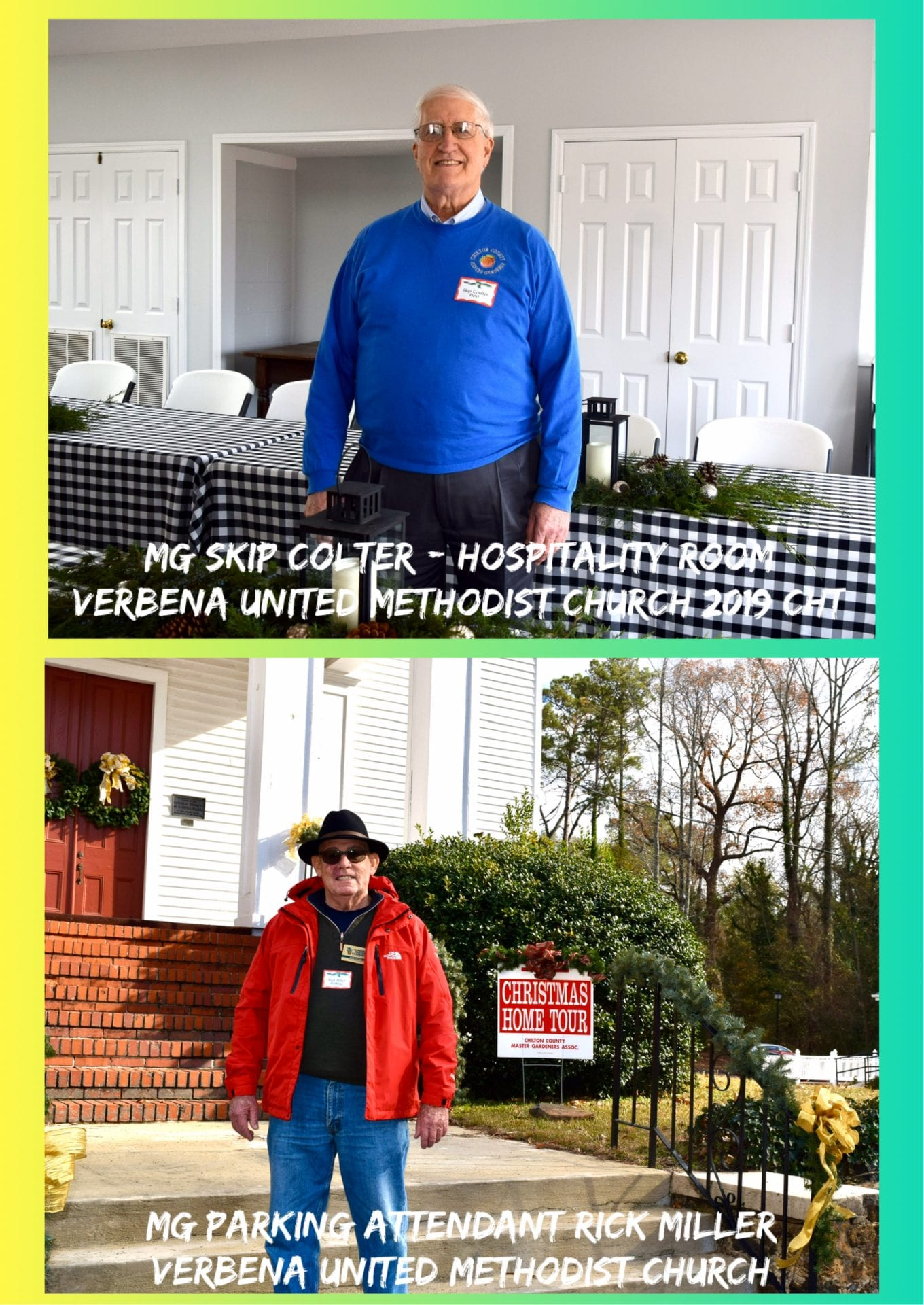 Hospitality and parking attendant at Verbena U.M. Church 2019 Christmas Home Tour