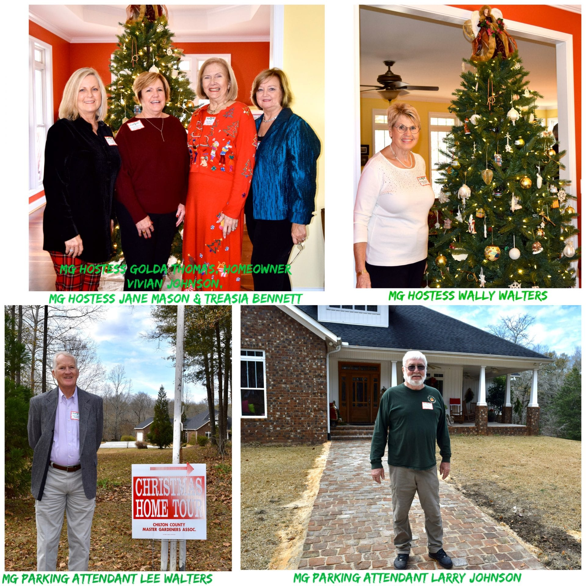 Hostesses and parking attendants at Johnson Home 2019 Christmas Home Tour